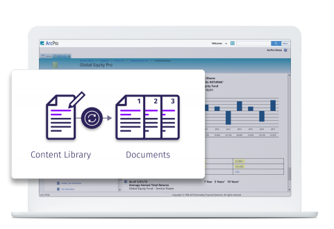 DFIN's ArcPro software showing the sync of multiple documents from one update
